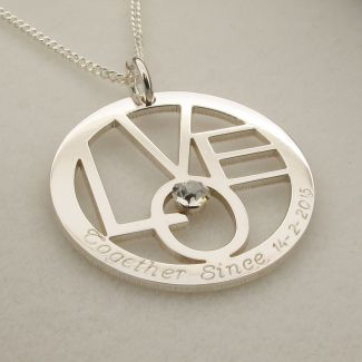 Sterling Silver Round LOVE Pendant With Optional Swarovski Crystal and Chain