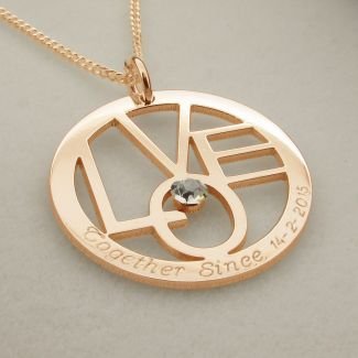 9ct Rose Gold Plated Gold Round LOVE Pendant With Optional Swarovski Crystal and Chain