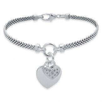 Sterling Silver Childs Heart With CZ Locket Bracelet With Optional Engraving