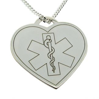 Sterling Silver Medic Aware Heart Pendant & Optional Chain