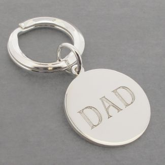 Sterling Silver Dad Round Keyring With Optional Engraving