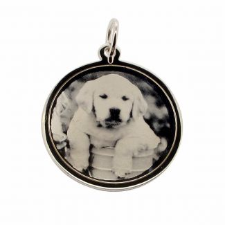 Sterling Silver 24mm Round Photo Engraved Disc Necklace
