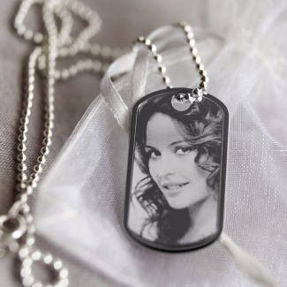 Sterling Silver Photo Engraved Dog Tag With Optional Engraving