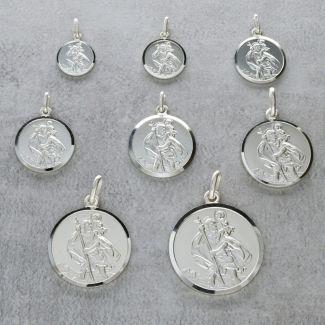 Sterling Silver St Christopher Pendant Various Sizes With Optional Engraving & Chain