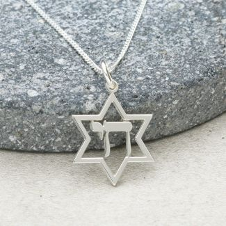 Sterling Silver Star Of David & Chai Pendant With Chain