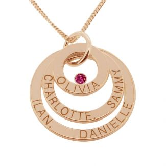 9ct Rose Gold Plated Engraved Triple Disc Personalised Family Necklace With Ruby