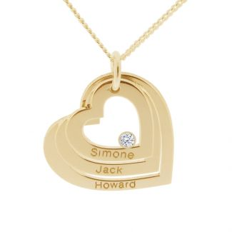 9ct Yellow Gold  Plated Engraved Triple Heart Pendant With Diamond