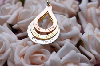 Three Colour Gold Plated Triple Tear Drop Family Necklace