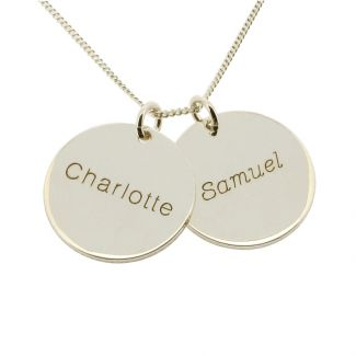 Sterling Silver Engraved Two Disc Pendants and Curb Chain