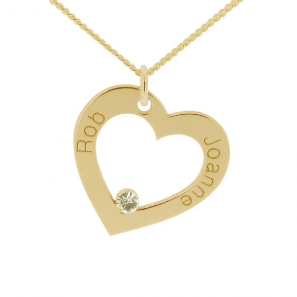 9ct Yellow Gold Plated Personalised Heart Necklace With CZ Crystal