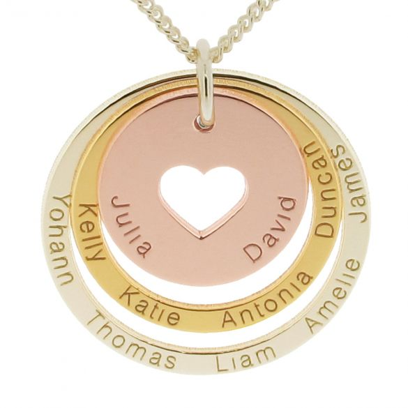 Three Colour 9ct Gold Two Disc Cut Out Heart Personalised Family Necklace