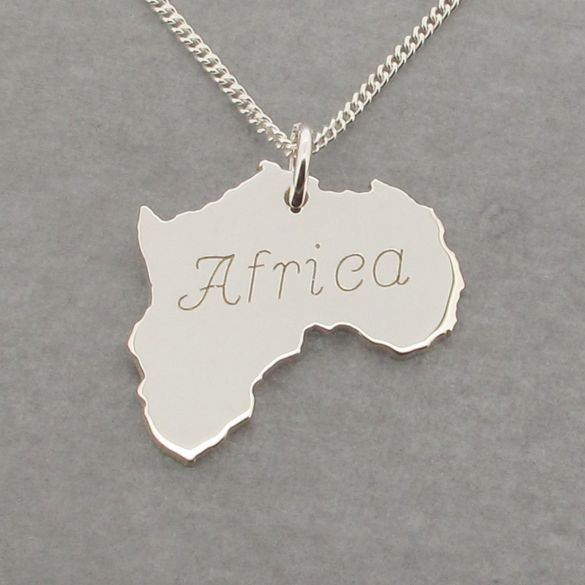 Sterling Silver Solid Africa Pendant