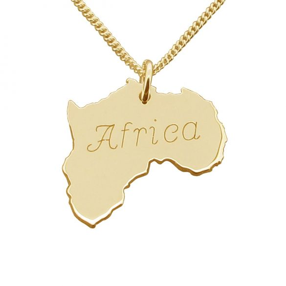 9ct Yellow Gold Plated Sterling Silver Solid Africa Pendant