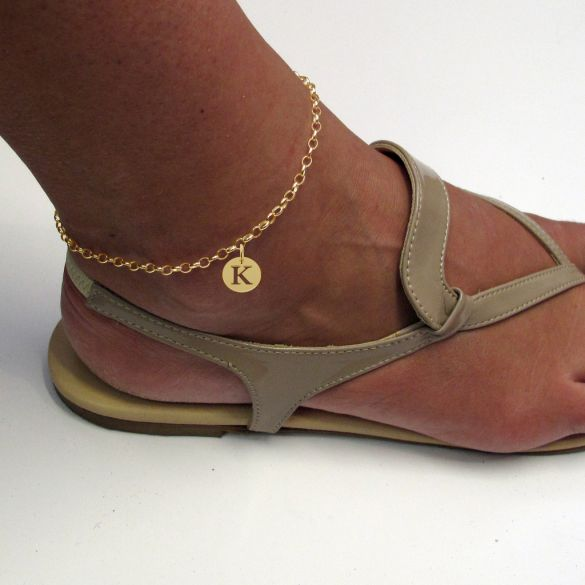 9ct Yellow Gold Plated Belcher Anklet With Initial Disc Charm On Foot
