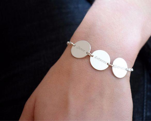 Sterling Silver Personalised 3 Disc Bracelet