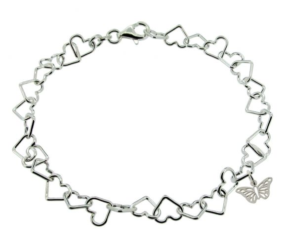 Sterling Silver Light Heart Charm AnkletWith Butterfly Charm