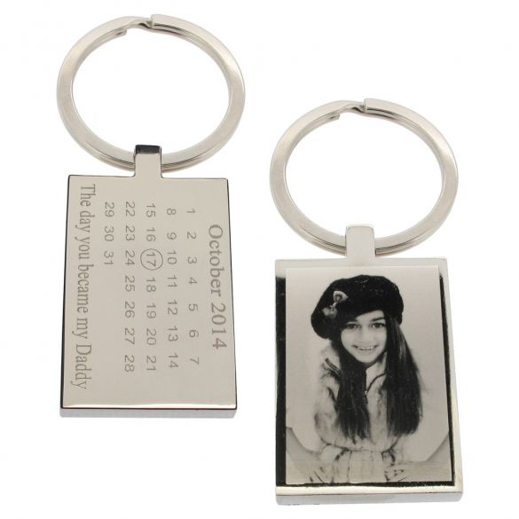 Mirror Polished Special Date Calendar & Photo Engraved  Keyring