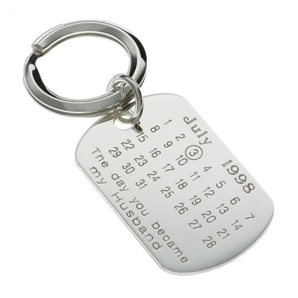 Sterling Silver Special Date Husband Keyring With Optional Engraving