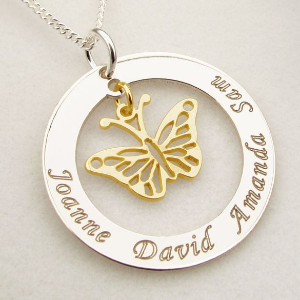 Sterling Silver Personalised Disc With Gold Plated Hanging Butterfly Pendant Necklace