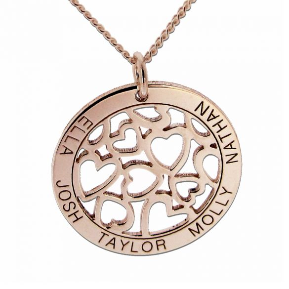 9ct Rose Gold Plated Hearts in Personalised Disc Necklace