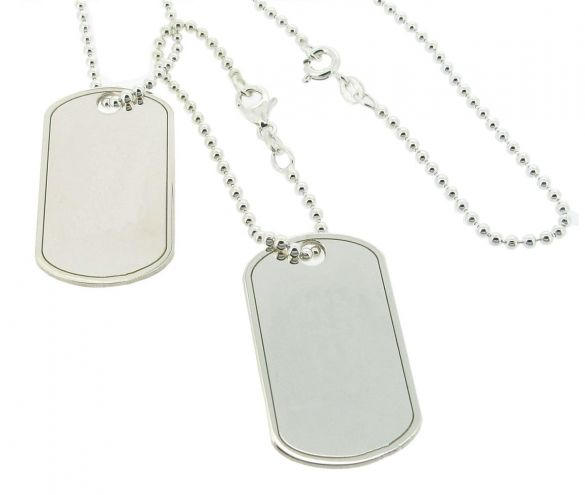 Sterling Silver Large Double Dog Tags With Optional Engraving