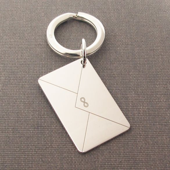 Sterling Silver Engraved Envelope Keyring