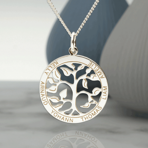 Sterling Silver Filigree Tree of Life Disc Personalised Family Necklace