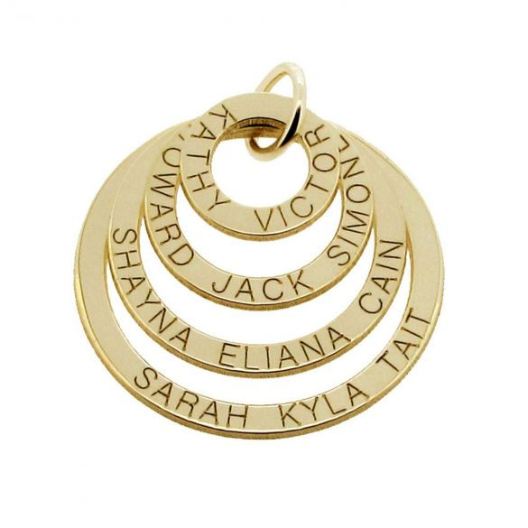 9ct Solid Gold Four Disc Family Pendant Necklace