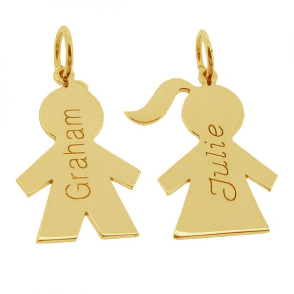 9ct Yellow Gold Plated Boy Or Girl Pendant With Name & Optional Chain