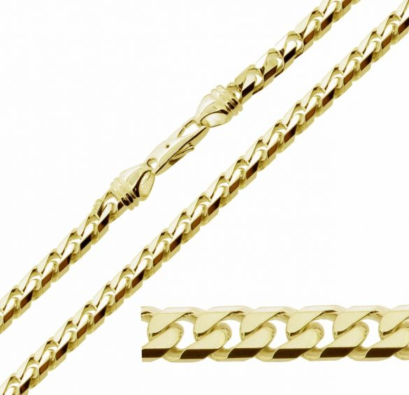9ct Yellow Gold Plated Mens 2oz Chunky Curb Link Bracelet