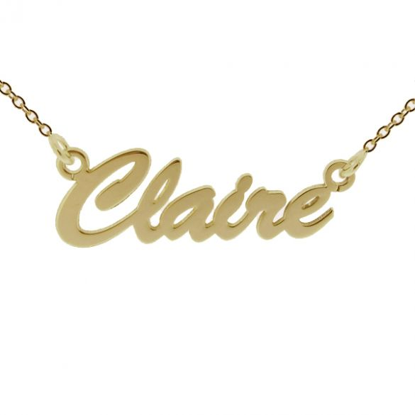 9ct Yellow Gold Plated Script Style Personalised Name Necklace