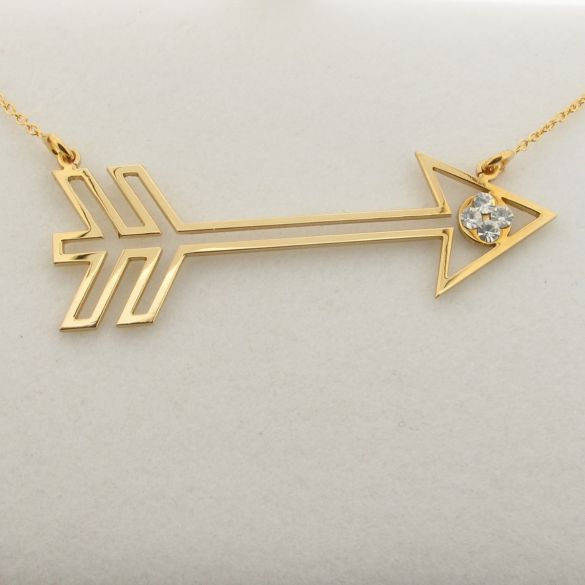 9ct Yellow Gold Plated Arrow Pendant With Crystals