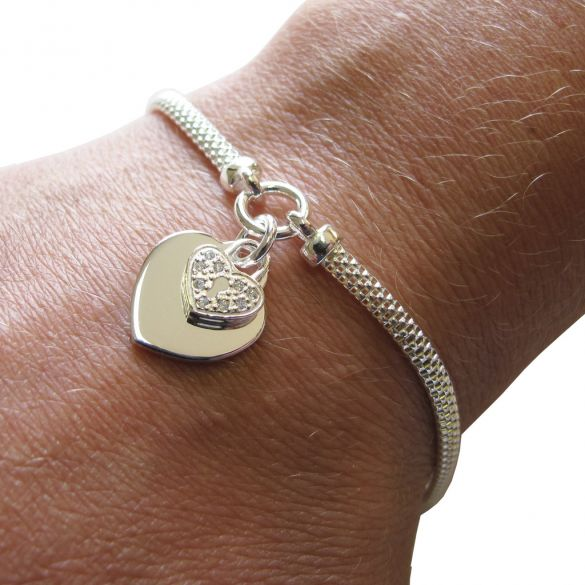Sterling Silver Ladies Heart With CZ Locket Bracelet With Optional Engraving