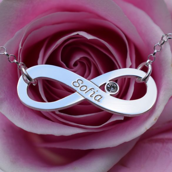Sterling Silver Infinity Necklace With CZ Crystal