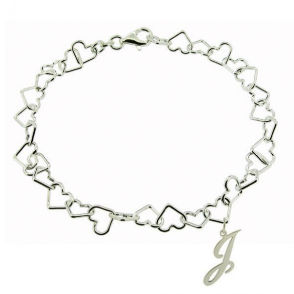 Sterling Silver Light Heart Charm Bracelet With Initial Charm