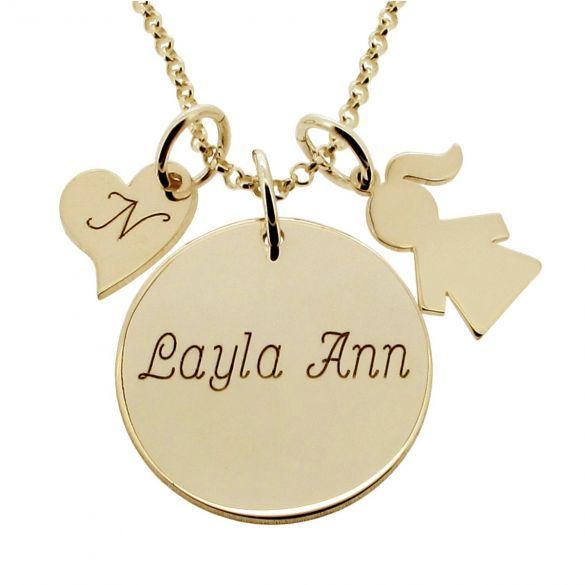 9ct Gold Plated Duchess Kate Middleton Style Engraved Necklace