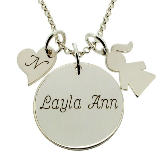 Sterling Silver Duchess Kate Middleton Style Engraved Necklace