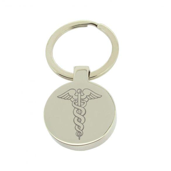 Mirror Polished Round Medic Aware Keyring