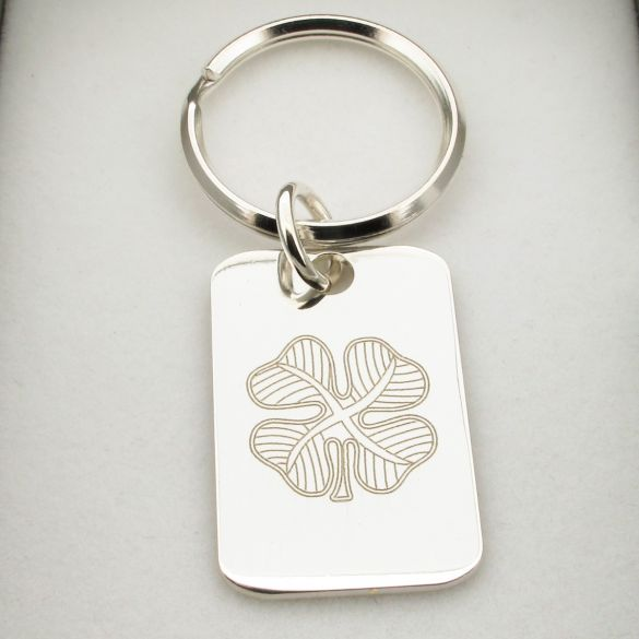 Sterling Silver Four Leaf Clover Keyring With Optional Engraving