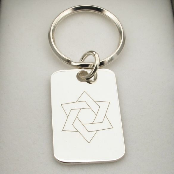 Sterling Silver Star of David Keyring With Optional Engraving