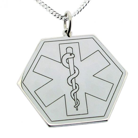Sterling Silver Medic Aware Hexagon Pendant & Optional Chain