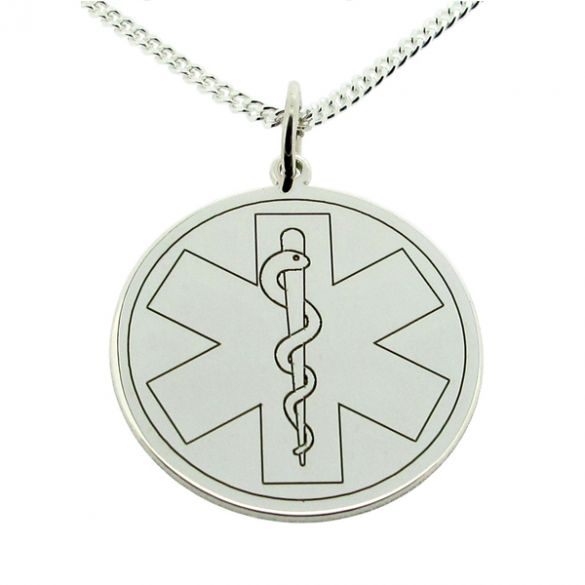 Sterling Silver Medic Aware Cross & Snake Pendant And Optional Chain