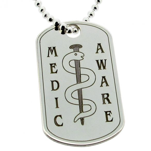Sterling Silver Medic Aware Snake Dog Tag With Engraving