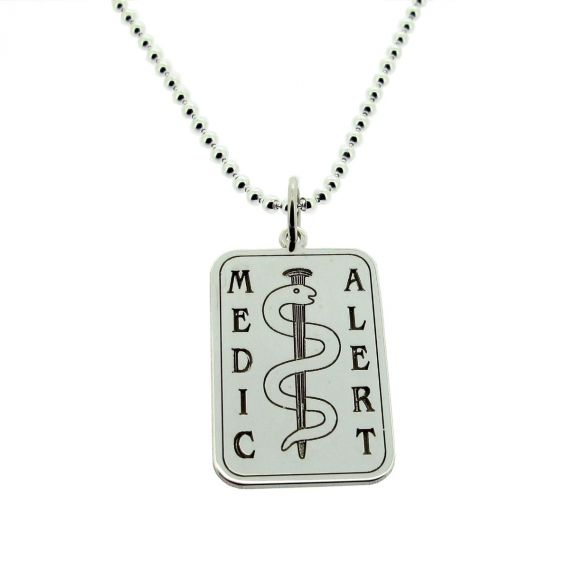 Sterling Silver Medical Alert Snake Tag With Engraving