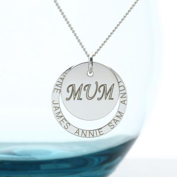 Sterling Silver Personalised Mum Pendant