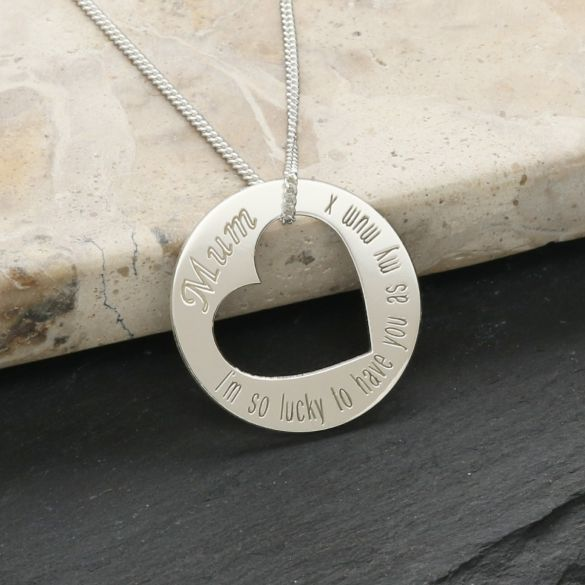 Sterling Silver Mum Cut Out Heart Pendant