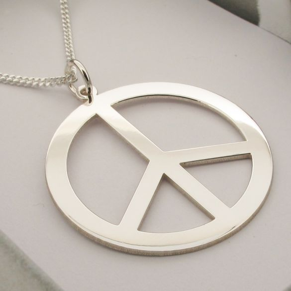Sterling Silver Engraved Peace CND Coin Disc Pendant