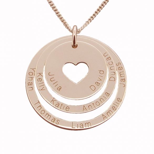 9ct Rose Gold Plated Two Disc Cut Out Heart Personalised Family Necklace