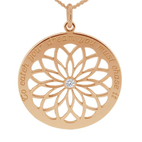 9ct Rose Gold Plated Dream Catcher Necklace With Crystal