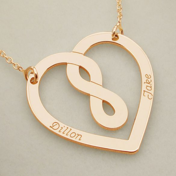 9ct Rose Gold Plated Heart Infinity Necklace